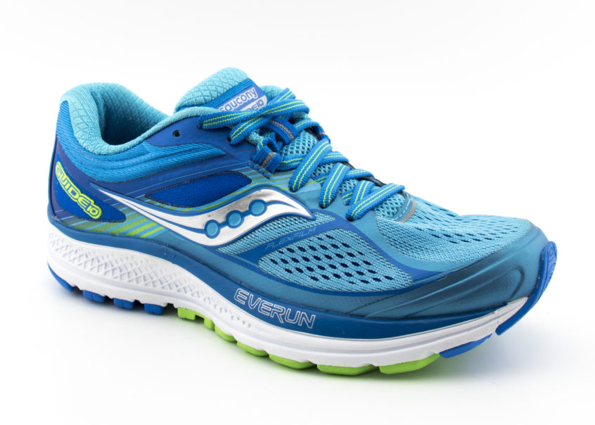 Saucony Guide 10 in light blue on an angle
